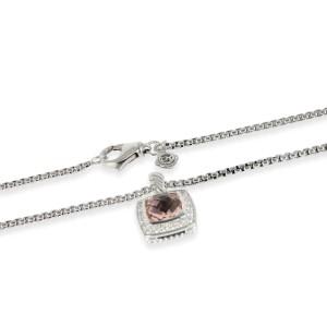 David Yurman Albion Morganite Diamond Necklace in  Sterling Silver 0.17 CTW