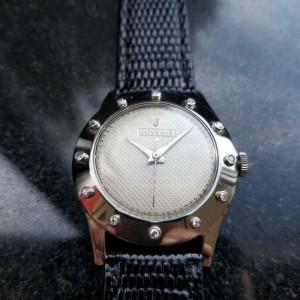 Juvenia Unisex 32mm 18K White Gold 1960s Manual Wind Diamond Dress Watch LV428
