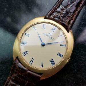 Men's Movado 18k Gold 35mm Hand-Wind Dress Watch, c.1960s Swiss Vintage LV439