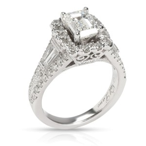 Neil Lane Halo Emerald Diamond Engagement Ring in 14K White Gold I SI1 1.85 CTW