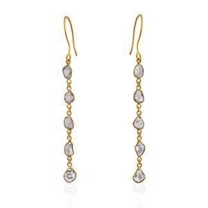 Rock & Divine Diamond Slice Drop Dawn Earrings in 18K Yellow Gold F VS2 1.50CTW