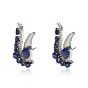Paisley Shaped Sapphire Diamond Earrings in 18K White Gold 0.41 CTW