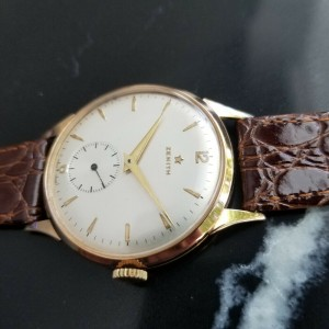 Mens Zenith 37mm 18k Solid Rose Gold Manual Wind Dress Watch, c.1960s MA167