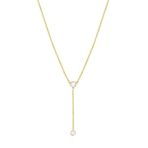Rock & Divine Lily Pad Lariat Diamond Necklace in 18K Yellow Gold F VS 0.20ctw