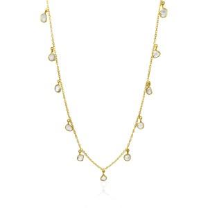 Rock & Divine Mini Lily Pad Dangles Diamond Necklace in 18K Yellow Gold