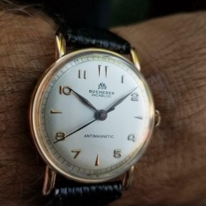 Mens Bucherer Ref.1148 35mm 18K Rose Gold Hand-Wind Ddress Watch, c.1960s LV363