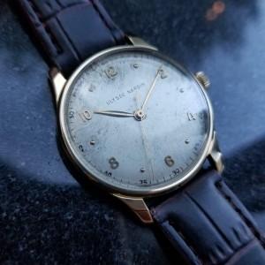 Mens Ulysse Nardin 36mm 18K Solid Gold Dress Watch, c.1960s Swiss Vintage LV733