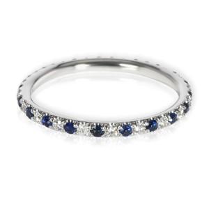 Sapphire & Diamond Eternity Band in 14K White Gold Blue 0.22 CTW