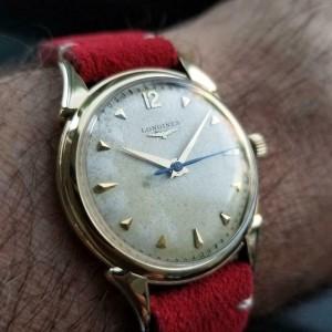 Mens Longines 34mm 14k Gold Hand-Wind Dress Watch, c.1960s Vintage LV818RED
