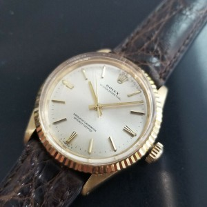 Mens Rolex Oyster Perpetual 1005 34mm 14k Gold Automatic, c.1970s Swiss MA177