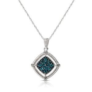BRAND NEW Square Cluster Enhanced Blue Diamond Pendant in 10k WG (0.20 CTW)