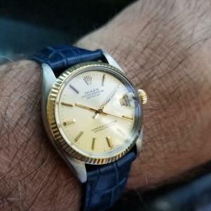 Mens Midsize Rolex Datejust 6827 31mm 18k Gold & SS Automatic, 1970s LV912BLU