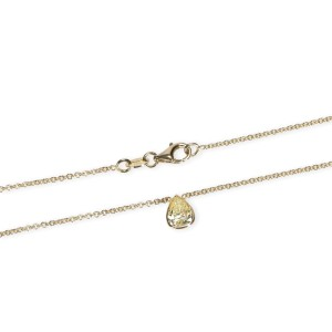 GIA Certified Pear Shape Fancy Intense Yellow VS2 Diamond Necklace 0.75 Ct