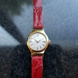 Ladies Rolex 9632 17mm Petite 18K Solid Gold Cocktail Watch, c.1950s Swiss LV559