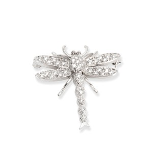Diamond Dragonfly Brooch in 18K White Gold 0.40 CTW