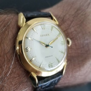 Mens Rolex Precision 35mm Gold-Capped Hand-Wind Dress Watch, c.1950s MA179