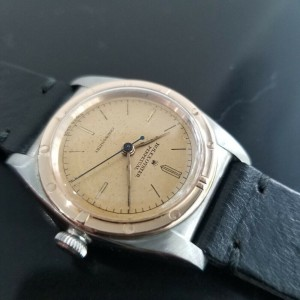 Mens Rolex Oyster Perpetual 32mm 18k Rose Gold & SS Automatic, c.1940s MA180BLK