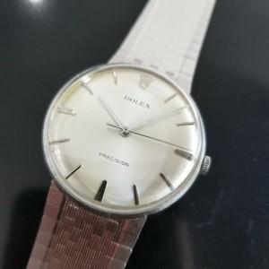 Mens Rolex Precision 34mm SS & 18k White Gold Manual Dress Watch, c.1960s MA187
