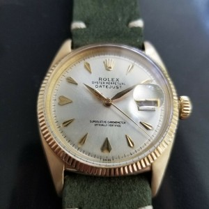 Mens Rolex Oyster Datejust Ref.6605 35mm 14k Gold Automatic, c.1950s LV694GRN