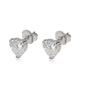 GIA Certified Heart Shaped Diamond Stud Earring 14KT Gold F/I VVS2/SI1 4.01 CTW