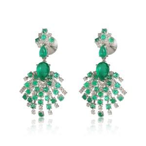 Diamond and Emerald Starburst Earrings in  18Kt White Gold 0.81 CTW