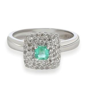 Halo Emerald Diamond Gemstone Ring in 18KT White Gold 0.808 CTW