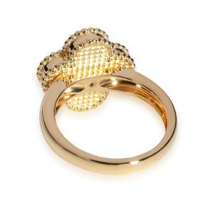 Van Cleef & Arpels Alhambra Tiger Eye Ring in 18K Yellow Gold 0.05 CTW