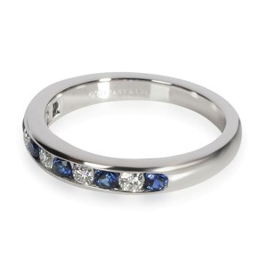 Tiffany Diamond and Sapphire Wedding Band in Platinum 0.17 CTW