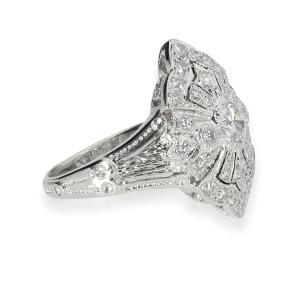 Vintage Inspired Diamond Ring in 18K White Gold 0.50 CTW