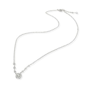 Halo Diamond Necklace in 18K White Gold 0.67 CTW