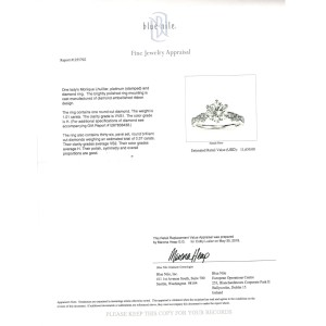 Monique Lhuillier Diamond Engagement Ring in Platinum GIA H VVS1 1.38 CTW