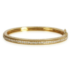 Penny Preville Engraved Diamond Bangle in 18K Yellow Gold 0.88 CTW