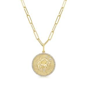Taurus Zodiac Diamond Necklace in 14KT Yellow Gold