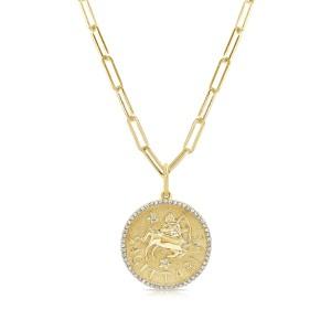 Sagittarius Zodiac Diamond Necklace in 14KT Yellow Gold