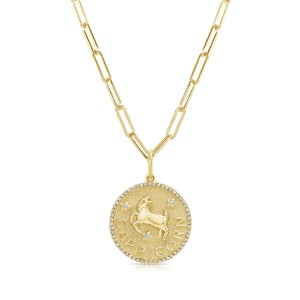 Capricorn Zodiac Diamond Necklace in 14KT Yellow Gold