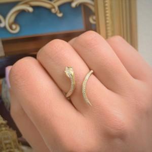 14k Rose Gold & Diamond Snake Ring