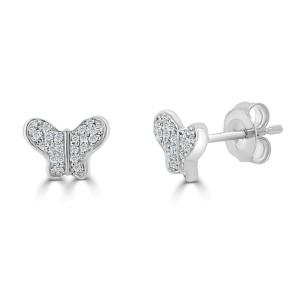 14k White Gold & Diamond Butterfly Studs