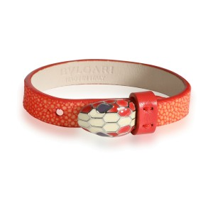 Bulgari Serpentini Forever Bracelet in Red Leather