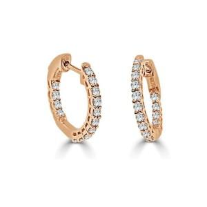 14k Rose Gold & Diamond Hoop Earrings