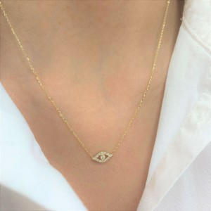 14k White Gold & Diamond Evil Eye Necklace
