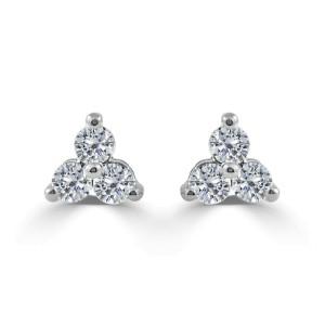 14k White Gold & Diamond Stud Earrings