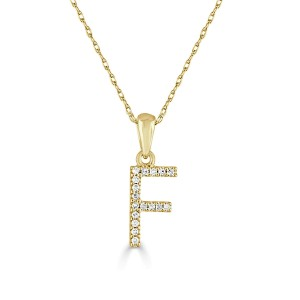 14k Gold & Diamond Initial Necklace- F
