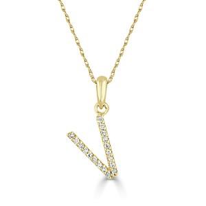 14k Gold & Diamond Initial Necklace- V