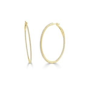 """14k Yellow Gold & Diamond Skinny Hoop Earrings 1.5"""""""