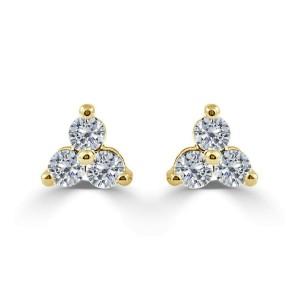14k Yellow Gold & Diamond Stud Earrings