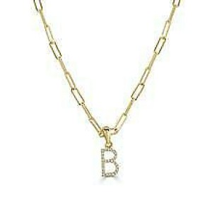 """14k Yellow Gold & Diamond Paperclip Initial """"B"""" Necklace"""