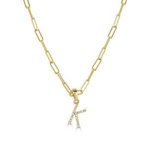 """14k Yellow Gold & Diamond Paperclip Initial """"K"""" Necklace"""