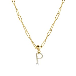 """14k Yellow Gold & Diamond Paperclip Initial """"P"""" Necklace"""