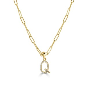 """14k Yellow Gold & Diamond Paperclip Initial """"Q"""" Necklace"""