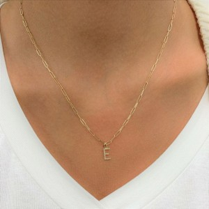 """14k Yellow Gold & Diamond Paperclip Initial """"R"""" Necklace"""
